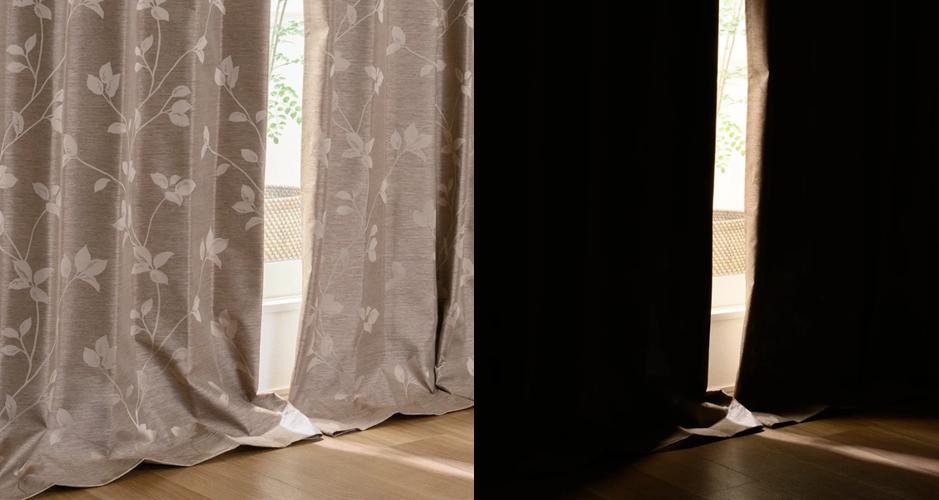 冬場の冷気対策として裏地付き二重遮光カーテンを使用する場合は、カーテンサイズを測る際に丈をすこし長めにすると良い