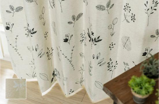 綿混生地にプリントした完全遮光カーテン