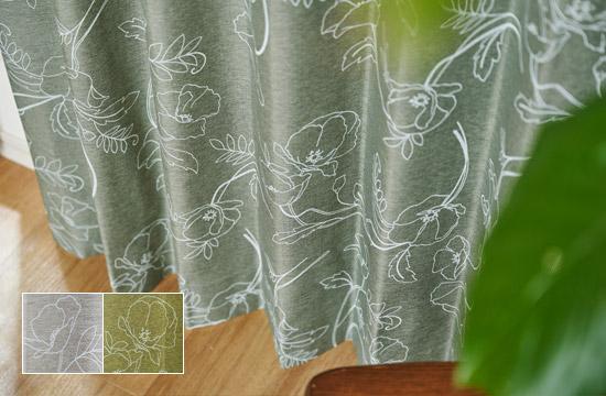 白ラッカーの線描の花柄の完全遮光カーテン