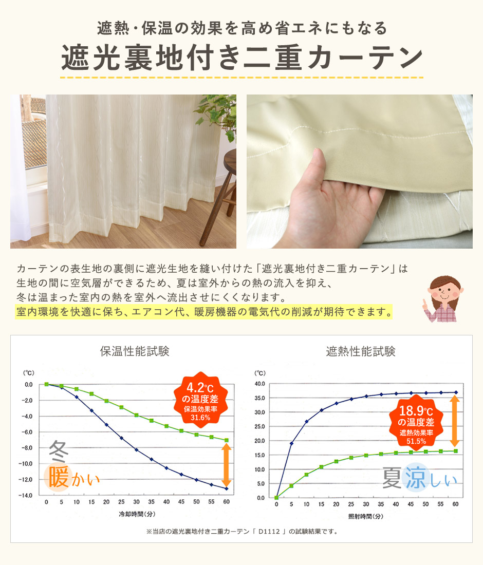 遮熱・保温の効果を高め省エネにもなる「遮光裏地付き二重カーテン」