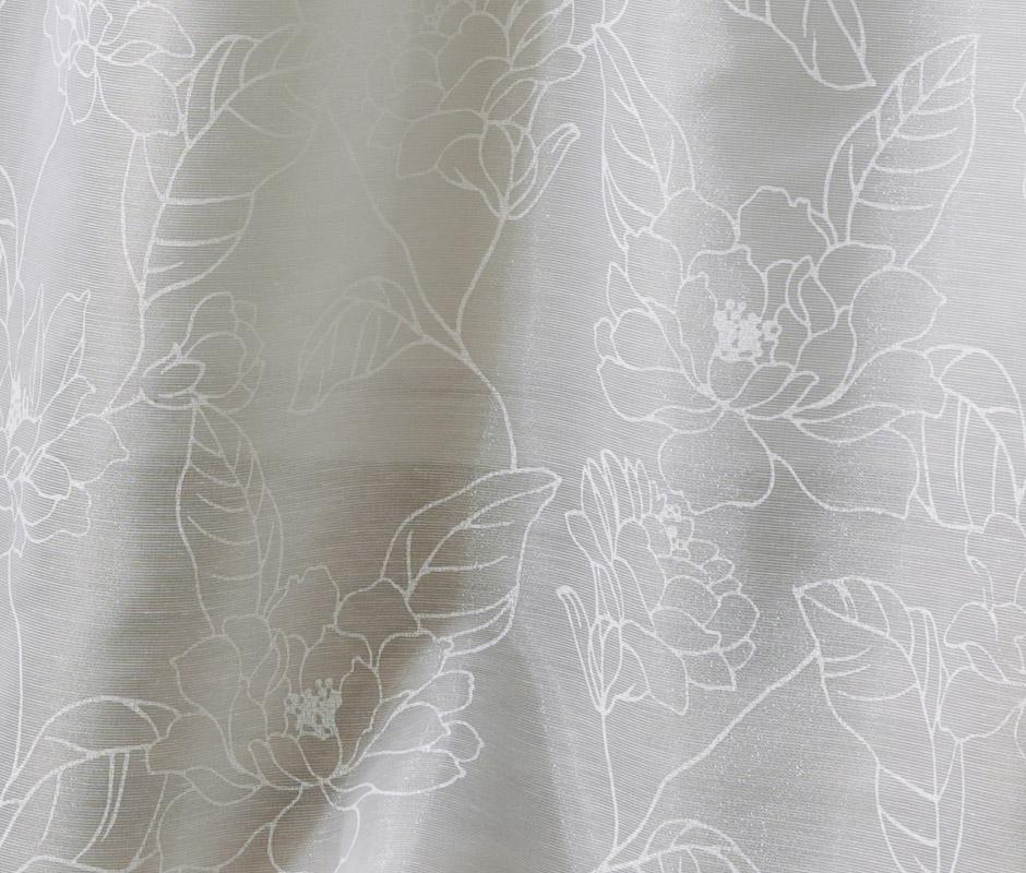 線描きの花柄をラッカープリントで華やかに表現した遮熱レースカーテン LS-731