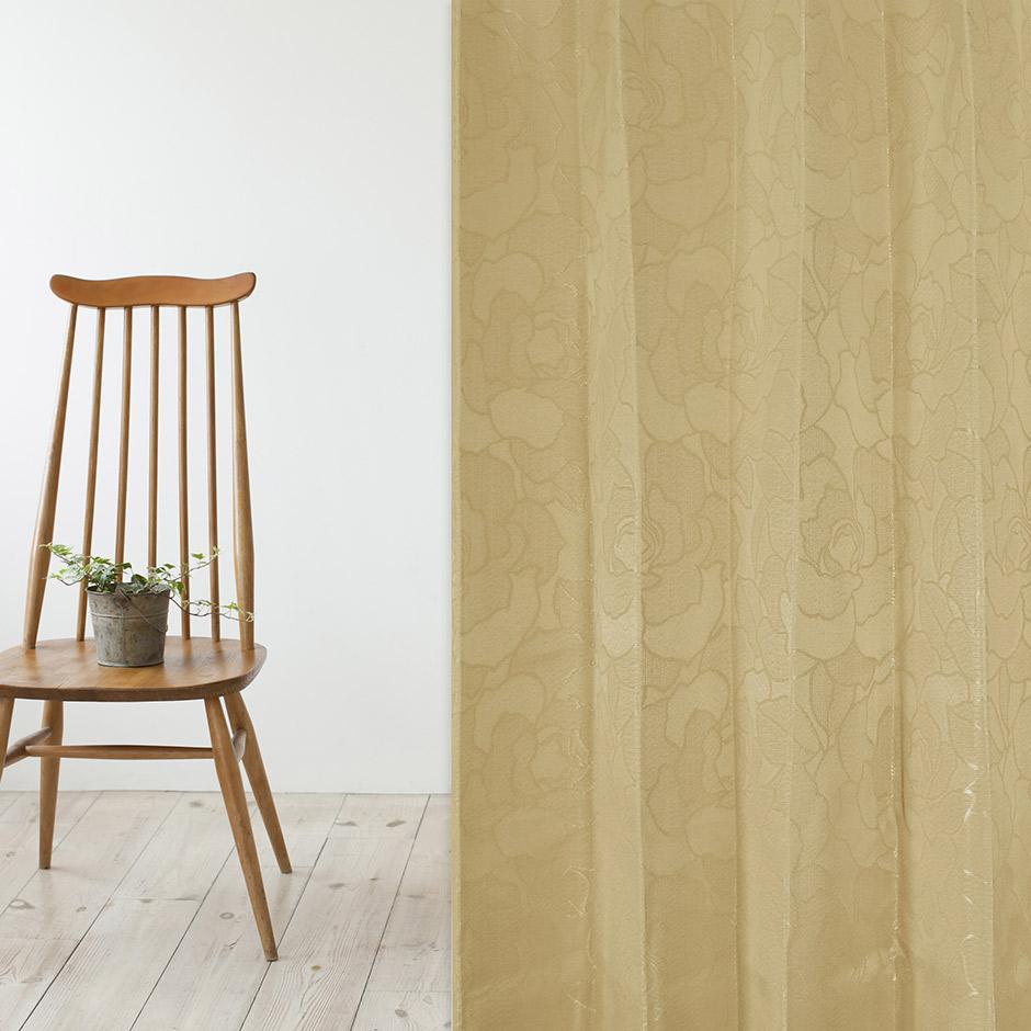 ジャガード織りで上品な花柄を表現した3級遮光カーテン マルシェ