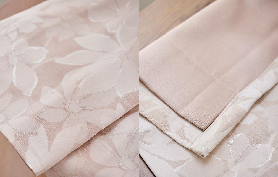 ジャガード織の大きな花柄がフェミニンな裏地付き3級遮光カーテン 1129