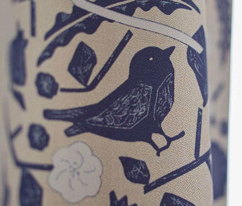 【2級遮光カーテン】北欧風の鳥や草花柄がおしゃれ クコ