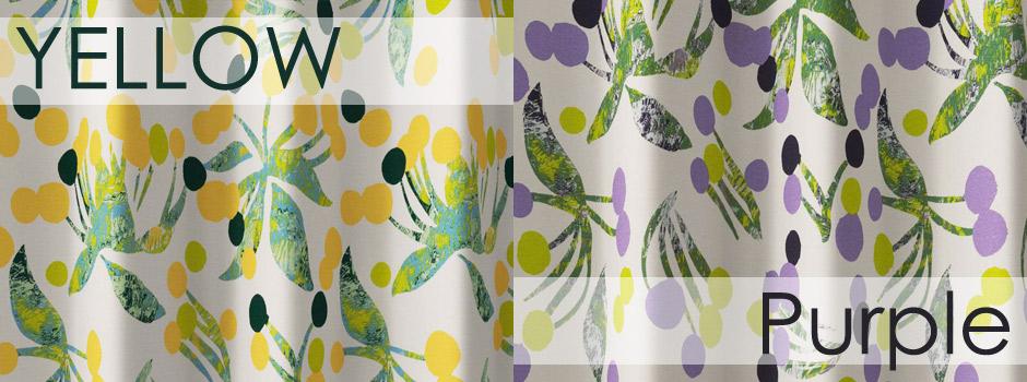 【2級遮光カーテン】北欧テイストのリズミカルなドットの花柄 ポポロ