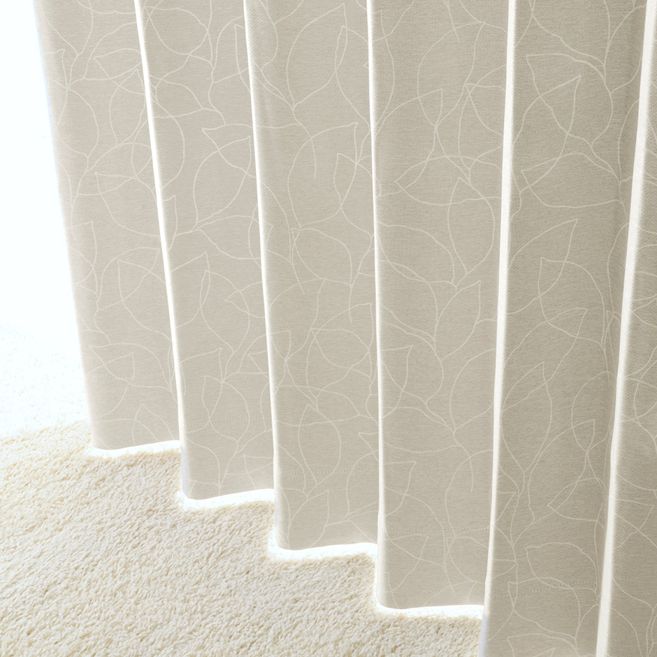 シンプルな線描きのリーフがモダンな2級遮光カーテン UN-0054